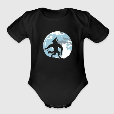 The werewolf in the moonlight - Organic Short Sleeve Baby Bodysuit
