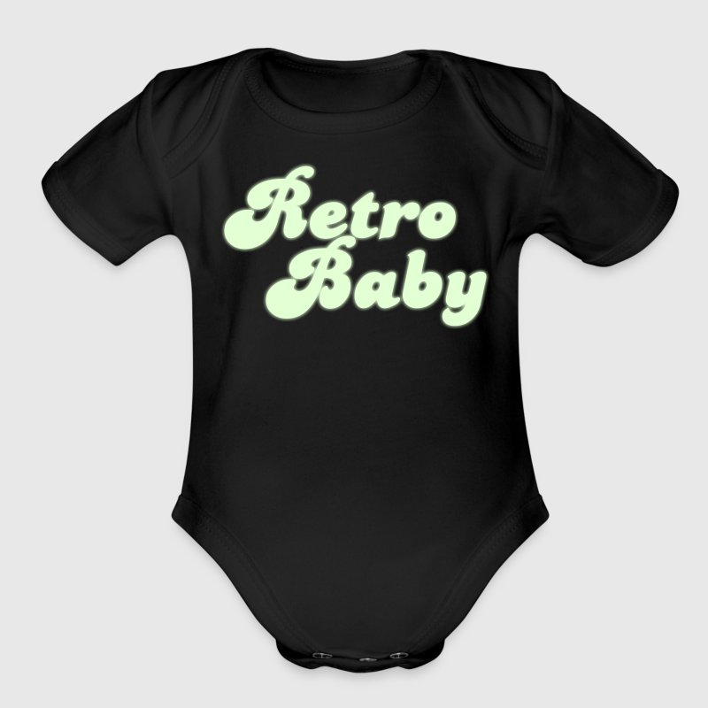 retro baby in funky cute font - Organic Short Sleeve Baby Bodysuit