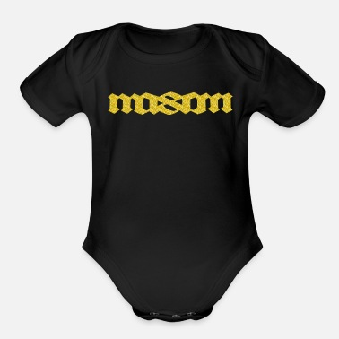 Tattoo MASON palindromic top first name - Organic Short Sleeve Baby Bodysuit