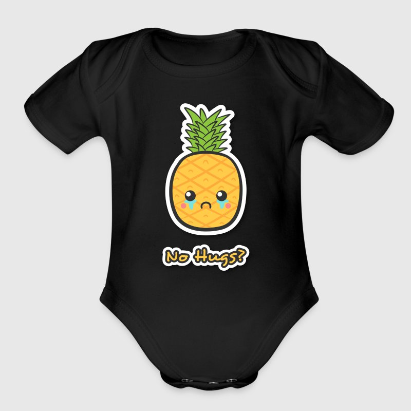 sad but cute pineapple that does not get any hugs - Organic Short Sleeve Baby Bodysuit