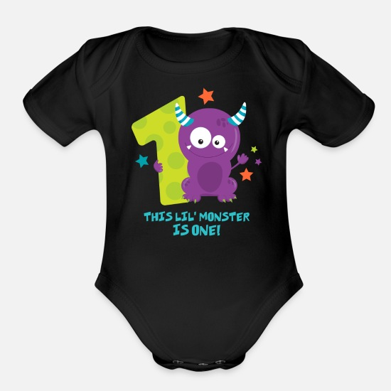 Birthday Baby Clothing - Monster 1st Birthday - Organic Short-Sleeved Baby Bodysuit black
