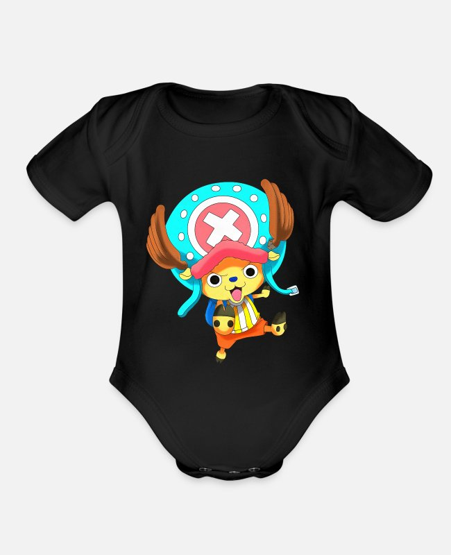 Anime Baby One Pieces - chopper cute - Organic Short-Sleeved Baby Bodysuit black