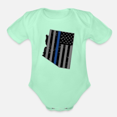 Police Arizona Police & Law Enforcement Thin Blue Line - Organic Short-Sleeved Baby Bodysuit