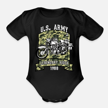 Military US Army Legendary Rider - Military Design - Organic Short Sleeve Baby Bodysuit