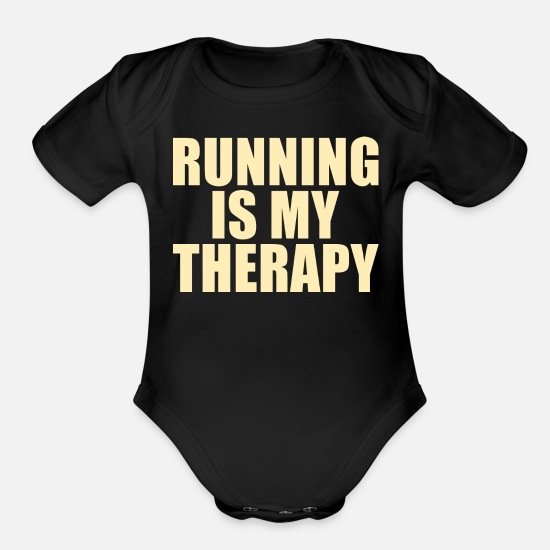 Funny Running Baby Clothing - RUNNING: running is my therapy - Organic Short-Sleeved Baby Bodysuit black