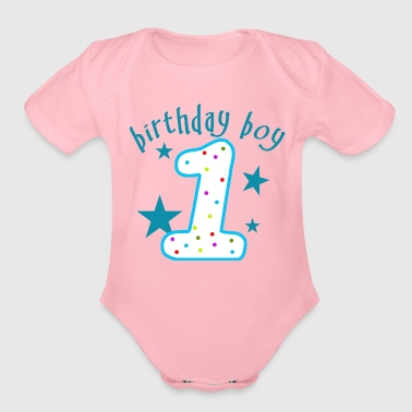 1st Birthday Boy - Organic Short Sleeve Baby Bodysuit