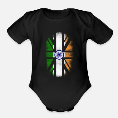 Indian British Indian Flag - India and UK Pride TShirt - Organic Short Sleeve Baby Bodysuit