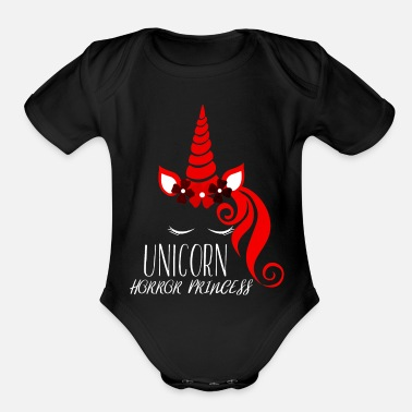 Unicorn Scary Halloween Gift - Unicorn Horror Princess - Organic Short-Sleeved Baby Bodysuit
