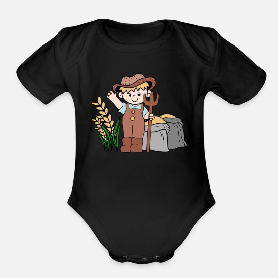 Female Baby Clothing - farmer happy rice grain gold gift idea - Organic Short-Sleeved Baby Bodysuit black