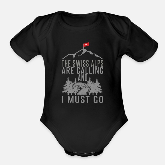 Swiss Baby Clothing - Swiss Mountains Slogan Alps Hiking Gift - Organic Short-Sleeved Baby Bodysuit black