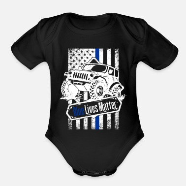 Cop Offroad Police Law Enforcement American Flag - Organic Short-Sleeved Baby Bodysuit