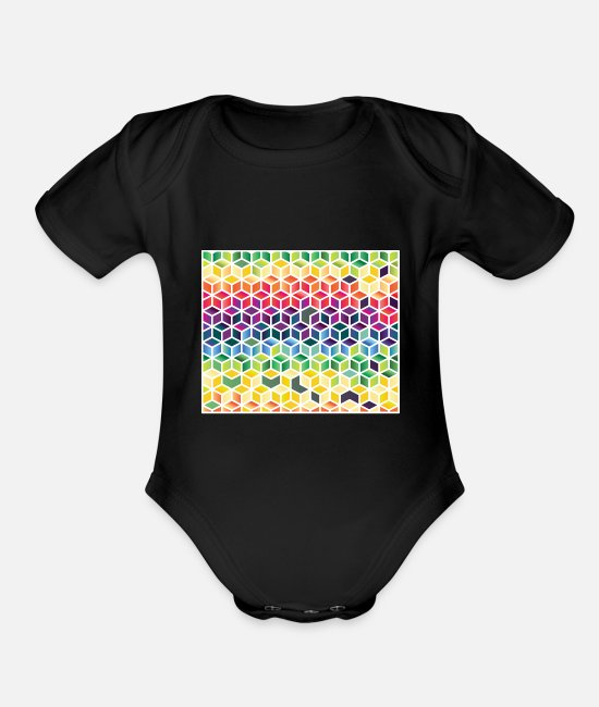 Pink Baby One Pieces - colorful pattern | colorful colored blob gift - Organic Short-Sleeved Baby Bodysuit black
