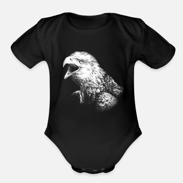 Realist Bald Eagle Animal Portrait (for dark products) - Organic Short-Sleeved Baby Bodysuit