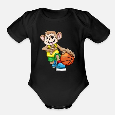 Basketball Monkey as basketball player with basketball - Organic Short-Sleeved Baby Bodysuit