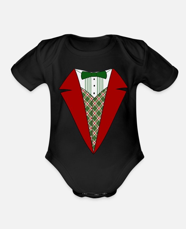 Christmas Carols Baby One Pieces - funny christmas tuxedo red and green tux t shirt - Organic Short-Sleeved Baby Bodysuit black