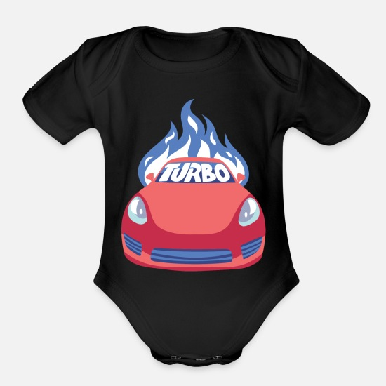 Turbo Baby Clothing - Turbo Car / Turbo Snail Auto Mechanic Gift Idea - Organic Short-Sleeved Baby Bodysuit black