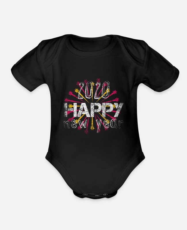 New Baby One Pieces - 2020 Happy New Year Happy New Year New Year - Organic Short-Sleeved Baby Bodysuit black