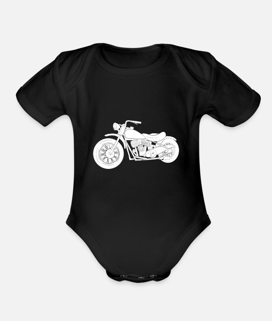 Motorcycle Baby One Pieces - Chopper - Organic Short-Sleeved Baby Bodysuit black