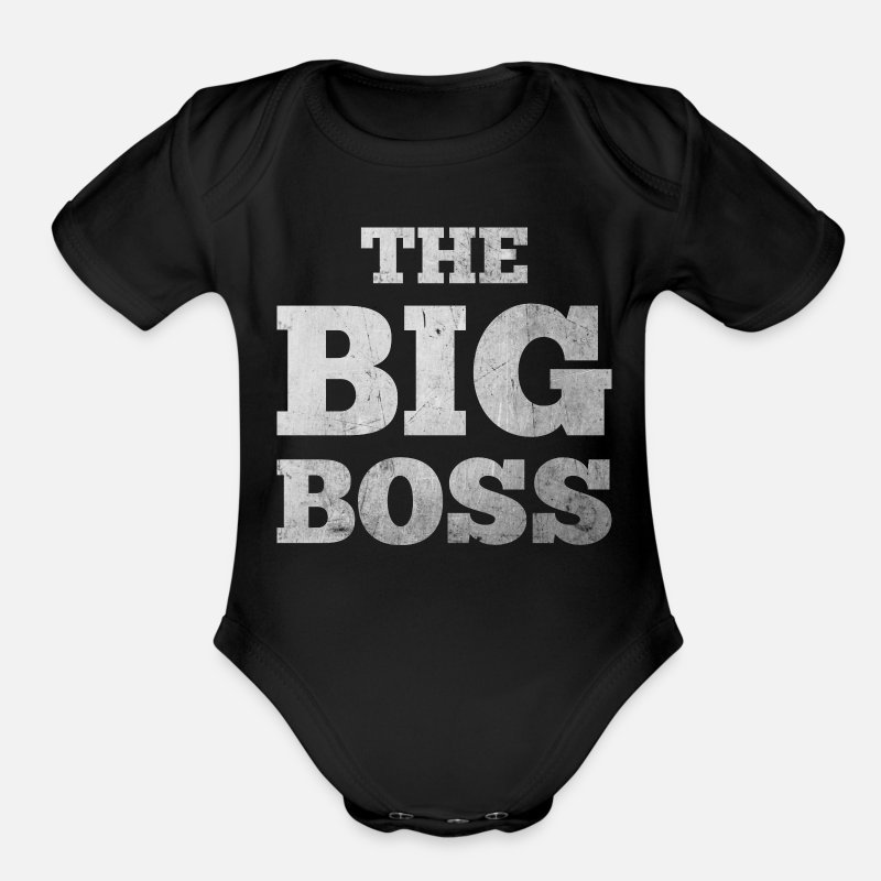 Babyproducts Baby Clothing - The Big Boss - Organic Short-Sleeved Baby Bodysuit black