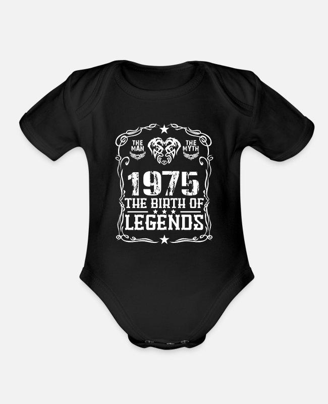 Legend Baby One Pieces - legends 1975 - Organic Short-Sleeved Baby Bodysuit black