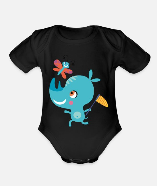 Drawing Baby One Pieces - Rhino funny butterfly African animal vector image - Organic Short-Sleeved Baby Bodysuit black