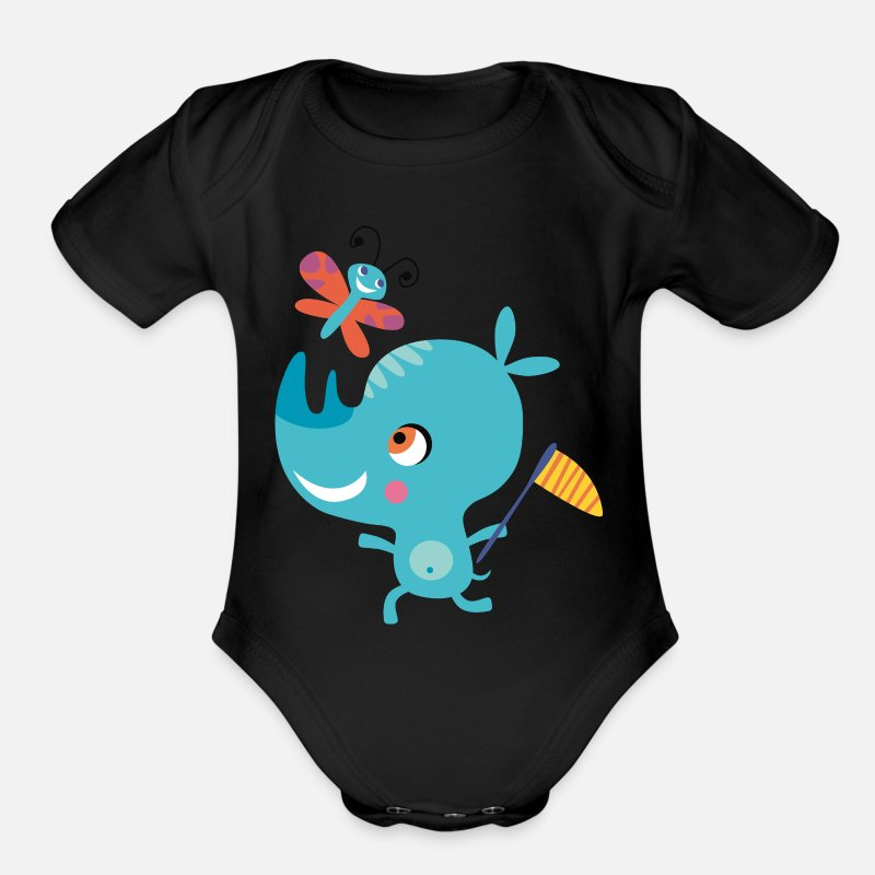 Birthday Baby Clothing - Rhino funny butterfly African animal vector image - Organic Short-Sleeved Baby Bodysuit black