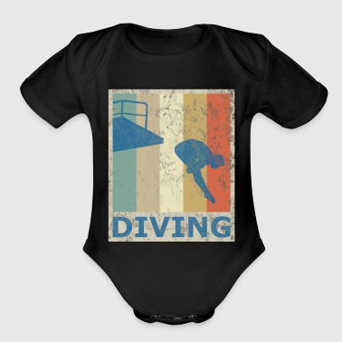 Retro Vintage Style Diving Diver Water Sports - Organic Short Sleeve Baby Bodysuit