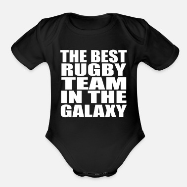 Footballer rugby funnyBest Rugby Team - Organic Short-Sleeved Baby Bodysuit