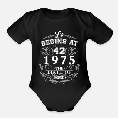 1975 Life begins 42 1975 The birth of legends - Organic Short Sleeve Baby Bodysuit