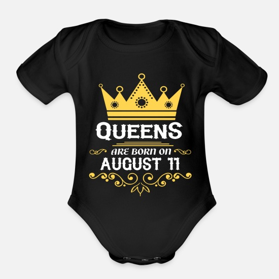 August Baby Clothing - Queens are born on August 11 - Organic Short-Sleeved Baby Bodysuit black