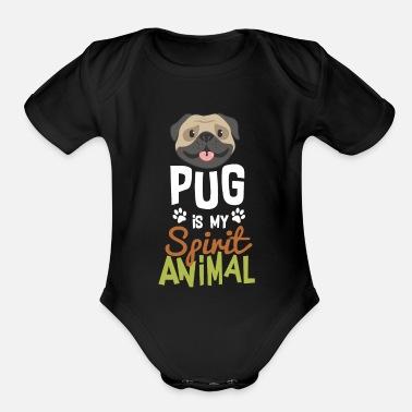 63505502f Cute Pug is My Spirit Animal T-Shirt - Organic Short-Sleeved Baby Bodysuit