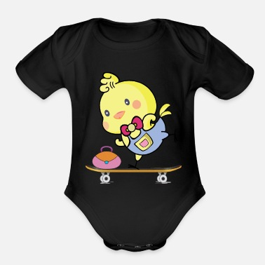 Dungarees T-shirt bird canary skateboard - Organic Short-Sleeved Baby Bodysuit