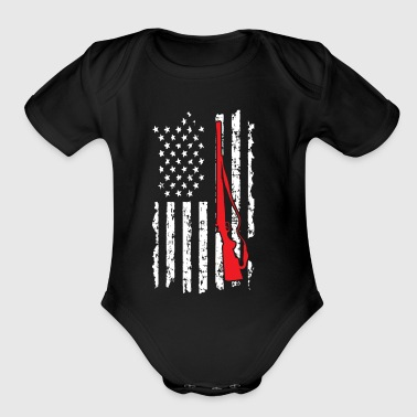 Rebel Flag Hunting American Flag with Gun - Organic Short Sleeve Baby Bodysuit