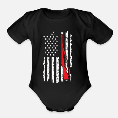 Flag Hunting American Flag with Gun - Organic Short Sleeve Baby Bodysuit