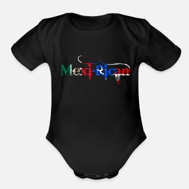 Mexican Mexi-Rican T Shirt: Mexico Puerto Rico Flag Shirt - Organic Short-Sleeved Baby Bodysuit