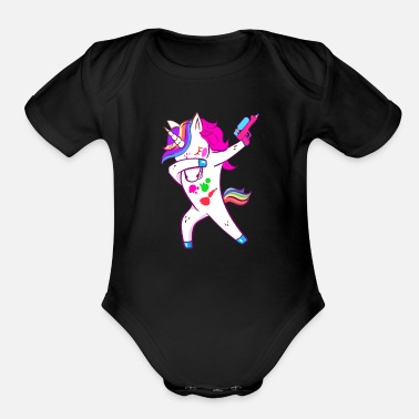 Paintball Dabbing Unicorn Pink Paintball for Boys and Girls - Organic Short Sleeve Baby Bodysuit