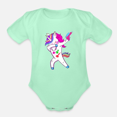 Paintball Dabbing Unicorn Pink Paintball for Boys and Girls - Organic Short-Sleeved Baby Bodysuit