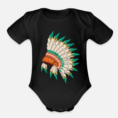 Native Native American Indian Chief Feather Headdress - Organic Short-Sleeved Baby Bodysuit