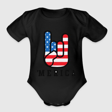 'Merica Independence Day Finger - Organic Short Sleeve Baby Bodysuit