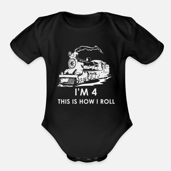 Birthday Baby Clothing - 4th Birthday 2014 Steam Engine Children Fun Gift - Organic Short-Sleeved Baby Bodysuit black