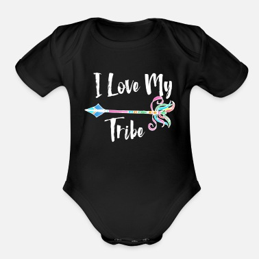 Native I Love My Tribe Colorful Tribal Arrow - Organic Short-Sleeved Baby Bodysuit