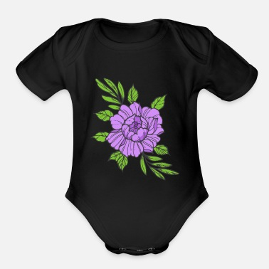 Violet Violet Flower - Organic Short-Sleeved Baby Bodysuit