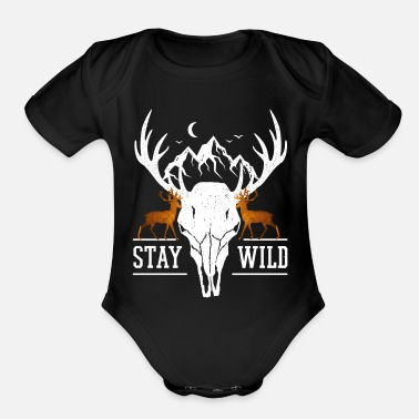 Stag Stay Wild Deer Stag Skull Mountains Wilderness - Organic Short-Sleeved Baby Bodysuit