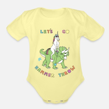 Hammer Let's Go Hammer Throw Unicorn Riding Dinosaur - Organic Short-Sleeved Baby Bodysuit