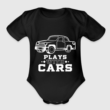 Plays with cars - Dad & Son Funny Matching - Organic Short Sleeve Baby Bodysuit