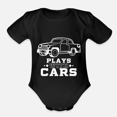 Playing Plays with cars - Dad & Son Funny Matching - Organic Short Sleeve Baby Bodysuit
