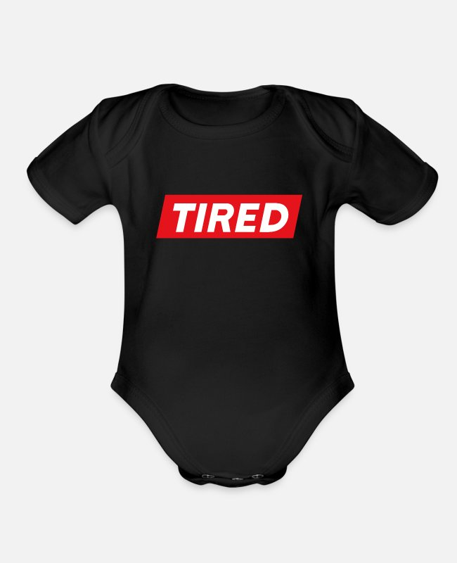 Bed Baby One Pieces - Tired Shirt, Always Tired Shirt, Tired Gift Shirt - Organic Short-Sleeved Baby Bodysuit black