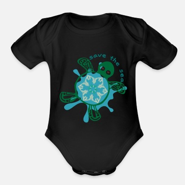 Save Save the Sea Turtle - Organic Short-Sleeved Baby Bodysuit