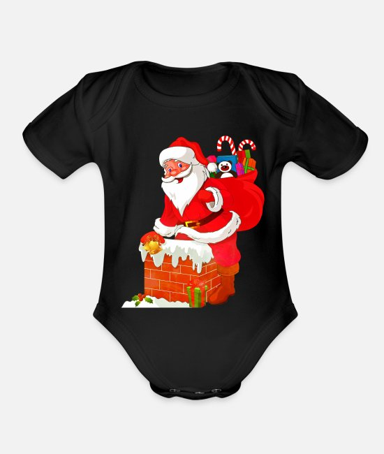 Red Baby One Pieces - santa claus - Organic Short-Sleeved Baby Bodysuit black