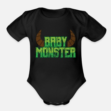Monster Halloween Baby Monster - Organic Short Sleeve Baby Bodysuit